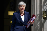 Prime Minister, Theresa May leaves number 10 for PMQs at Downing Street on July 17, 2019 in London, England. Today will be the Prime Minister's penultimate PMQs and the start of her final week at Number 10.