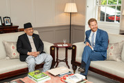 Prince Harry, Duke of Sussex meets the Prime Minister of Nepal KP Sharma Oli during a private audience at Kensington Palace on  June 11, 2019 in London, England.