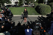 White House Press Secretary Sarah Huckabee Sanders talks to reporters after an interview with FOX News outside the West Wing, June 11, 2019 in Washington, DC