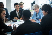 Prime Minister Theresa May visits Southfields school in south west London where she is meeting with staff and students to discuss support for the launch of a new package of measures to prevent mental illness, on June 17, 2019 in London, England. New teachers will receive training on how to spot the signs of mental health issues under a new prevention plan unveiled by Theresa May which aims to overhaul society's approach to mental illness.