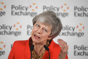 Britain's Prime Minister Theresa May gives a speech in response to the Augar Review into post-18 education on May 30, 2019 in central London, England.