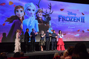 "(L-R) Edith Bowman, Peter Del Vecho, Chris Buck, Jennifer Lee, Jonathan Groff, Josh Gad and Idina Menzel attend the European Premiere of Disney's ""Frozen 2"" on November 17, 2019 in London, England."