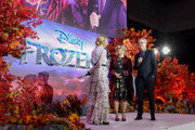 "Jennifer Lee (C) and Chris Buck speak to Edith Bowman at the European Premiere of Disney's ""Frozen 2"" on November 17, 2019 in London, England."