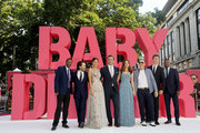 "(left to right) CJ James, Edgar Wright, Eiza Gonzalez, Jon Hamm, Lily James, Kevin Spacey, Ansel Elgort and Jamie Foxx attend the European Premiere of Sony Pictures ""Baby Driver"" on June 21, 2017 in London, England."