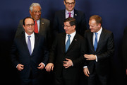 (Bottom L-R) President of France, Francois Hollande, Turkish Prime Minister Ahmet Davutoglu and European council president, Donald Tusk are pictured during the family photo call at The European Council Meeting In Brussels held at the Justus Lipsius Building on March 7, 2016 in Brussels, Belgium.  EU leaders are meeting with Turkish Prime Minister Ahmet Davutoglu in Brussels, to discuss the worst refugee crisis since the Second World War, as thousands of migrants remain stranded in Greece after borders along the Balkan route to Germany are closed.