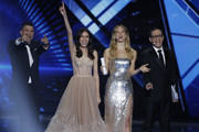 Hosts Assi Azar, Lucy Ayoub, Bar Refaeli and Erez Tal and  live on stage during the 64th annual Eurovision Song Contest held at Tel Aviv Fairgrounds on May 17, 2019 in Tel Aviv, Israel.