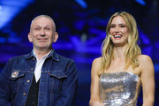 Jean-Paul Gaultier (L) and supermodel Bar Refaeli during the 64th annual Eurovision Song Contest held at Tel Aviv Fairgrounds on May 18, 2019 in Tel Aviv, Israel.