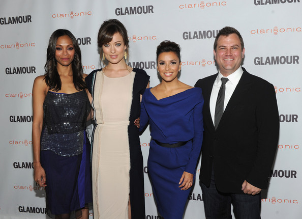 Eva Longoria Glamour Reel Moments Directors Zoe Saldana, Olivia Wilde and Eva Longoria and Vice President at Clarisonic Chris Payne arrive at the 2011 Glamour Reel Moments premiere presented by Clarisonic held at the Directors Guild Of America on October 24, 2011 in West Hollywood, California.