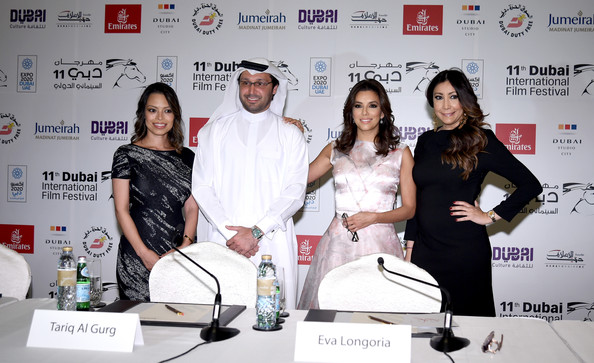 Eva Longoria Alina Peralta, Tariq al Gurg, Eva Longoria and Maria Bravo attend the Global Gift Gala press conference during day five of the 11th Annual Dubai International Film Festival held at the Madinat Jumeriah Complex on December 14, 2014 in Dubai, United Arab Emirates.