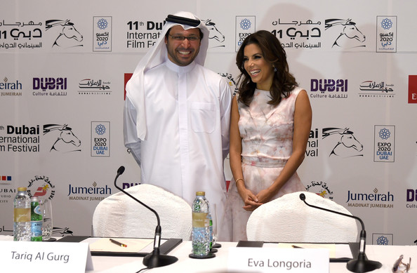 Eva Longoria Tariq al Gurg and Eva Longoria attend the Global Gift Gala press conference during day five of the 11th Annual Dubai International Film Festival held at the Madinat Jumeriah Complex on December 14, 2014 in Dubai, United Arab Emirates.