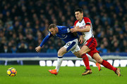 Gareth Barry of West Bromwich Albion chases down Wayne Rooney of Everton during the Premier League match between Everton and West Bromwich Albion at Goodison Park on January 20, 2018 in Liverpool, England.