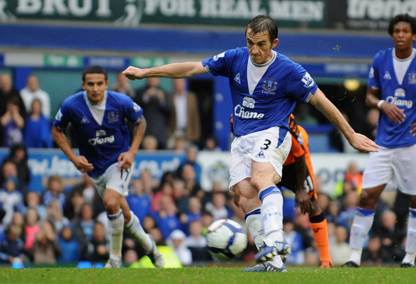 Leighton Baines of Everton scores his team's second goal from the penalty spot during the Barclays Premier League match between Everton and Wigan Athletic at Goodison Park on August 30, 2009 in Liverpool, England.