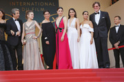 """(L-R) Actor Ricardo Darin, actress Carla Campra, actress Elvira Minguez, Barbara Lennie, actress Sara Salamo, Inma Cuesta and producer Alvaro Longoria attend the screening of """"Everybody Knows (Todos Lo Saben)"""" and the opening gala during the 71st annual Cannes Film Festival at Palais des Festivals on May 8, 2018 in Cannes, France."""