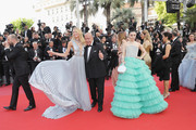 """Romee Strijd, Fawaz Gruosi and Fan Bingbing attend the screening of """"Everybody Knows (Todos Lo Saben)"""" and the opening gala during the 71st annual Cannes Film Festival at Palais des Festivals on May 8, 2018 in Cannes, France."""