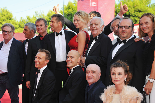 """Box Office 3D"" Premiere - 68th Venice Film Festival [facial expression,people,social group,event,formal wear,suit,tuxedo,ceremony,smile,family,crew,cast,box office 3d,venice,italy,palazzo del cinema,premiere,venice film festival,68th venice film festival]"