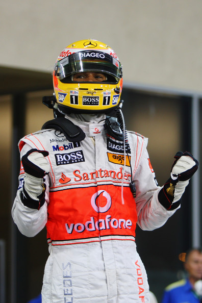 Lewis Hamilton of Great Britain and McLaren Mercedes celebrates in parc ferme after taking pole position during qualifying for the Abu Dhabi Formula One Grand Prix at the Yas Marina Circuit on October 31, 2009 in Abu Dhabi, United Arab Emirates.