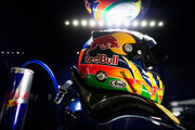 The drivers helmet of Jaime Alguersuari of Spain and Scuderia Toro Rosso is seen during practice for the Brazilian Formula One Grand Prix at the Autodromo Jose Carlos Pace on November 25, 2011 in Sao Paulo, Brazil.