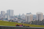 Jaime Alguersuari of Spain and Scuderia Toro Rosso drives during the final practice session prior to qualifying for the Brazilian Formula One Grand Prix at the Autodromo Jose Carlos Pace on November 26, 2011 in Sao Paulo, Brazil.