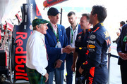 Daniel Ricciardo of Australia and Red Bull Racing, and Red Bull Racing Team Principal Christian Horner meet Sir Jackie Stewart and Prince Edward Duke of Kent in the Pitlane during practice for the Formula One Grand Prix of Great Britain at Silverstone on July 6, 2018 in Northampton, England.