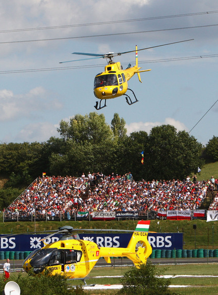 Felipe Massa of Brazil and Ferrari is airlifted by helicopter following his accident during qualifying for the Hungarian Formula One Grand Prix at the Hungaroring on July 25, 2009 in Budapest, Hungary.