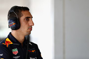 Sebastien Buemi of Switzerland and Red Bull Racing looks on during qualifying for the Formula One Grand Prix of Japan at Suzuka Circuit on October 6, 2018 in Suzuka.