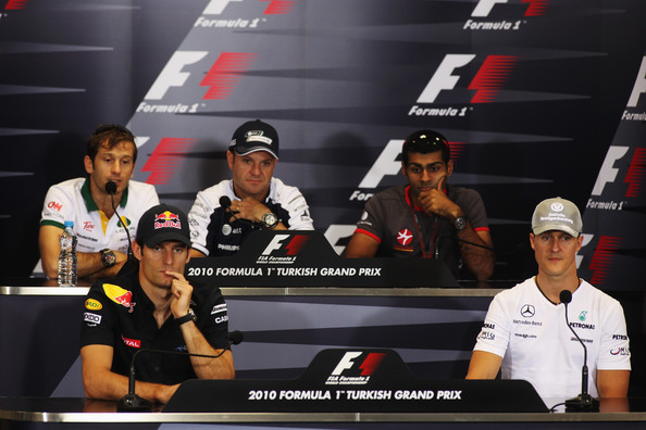 Back row left to right - Jarno Trulli of Italy and Lotus, Rubens Barrichello of Brazil and Williams, Karun Chandhok of India and Hispania Racing Team and front row left to right - Mark Webber of Australia and Red Bull Racing and Michael Schumacher of Germany and Mercedes GP attend the drivers press conference during previews to the Turkish Formula One Grand Prix at Istanbul Park on May 27, 2010, in Istanbul, Turkey.