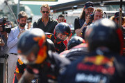 Actor Alexander Skarsgard looks on as the Red Bull Racing team practice pit stops before the F1 Grand Prix of Australia at Melbourne Grand Prix Circuit on March 17, 2019 in Melbourne, Australia.