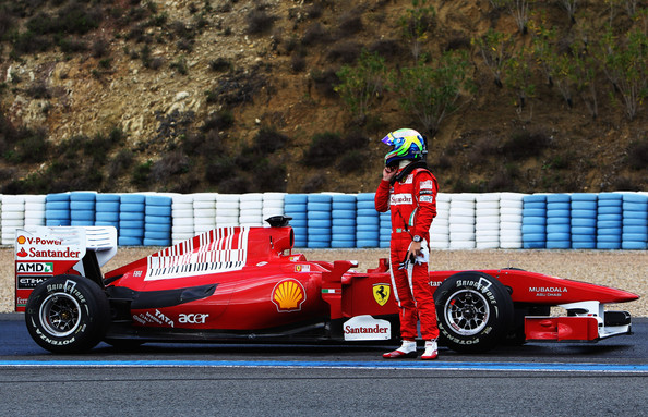 Felipe Massa of Brazil and Ferrari pulls off the track with problem during winter testing at the Circuito De Jerez on February 17, 2010 in Jerez de la Frontera, Spain.