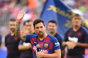 Lionel Messi of FC Barcelona delivers a speech prior to the Joan Gamper trophy friendly match at Nou Camp on August 04, 2019 in Barcelona, Spain.