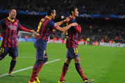 Neymar (R) of FC Barcelona celebrates with Alexis Sanchez after scoring his team's 4th goal during the UEFA Champions League, Group H match between FC Barcelona and Celtic FC at the Camp Nou Stadium on December 11, 2013 in Barcelona, Spain.