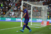 Luis Suarez of Barcelona reacts to a referee's decision during the Supercopa de Espana Semi-Final match between FC Barcelona and Club Atletico de Madrid at King Abdullah Sports City on January 09, 2020 in Jeddah, Saudi Arabia.