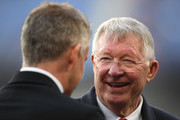 Sir Alex Ferguson chats with Ole Gunnar Solskjaer, Manager of Manchester United during the UEFA Champions League Quarter Final second leg match between FC Barcelona and Manchester United at Camp Nou on April 16, 2019 in Barcelona, Spain.