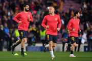 Luis Suarez of Barcelona and Lionel Messi of Barcelona warm up prior to the UEFA Champions League Quarter Final second leg match between FC Barcelona and Manchester United at Camp Nou on April 16, 2019 in Barcelona, Spain.