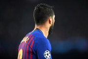 A detailed view of Luis Suarez of Barcelona tattoo during the UEFA Champions League Quarter Final second leg match between FC Barcelona and Manchester United at Camp Nou on April 16, 2019 in Barcelona, Spain.