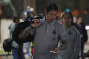Sergio Ramos of Real Madrid arrives at the stadium prior to the Liga match between FC Barcelona and Real Madrid CF at Camp Nou on December 18, 2019 in Barcelona, Spain.