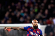 Arturo Vidal of FC Barcelona gives instructions during the Liga match between FC Barcelona and Real Sociedad at Camp Nou on March 07, 2020 in Barcelona, Spain.