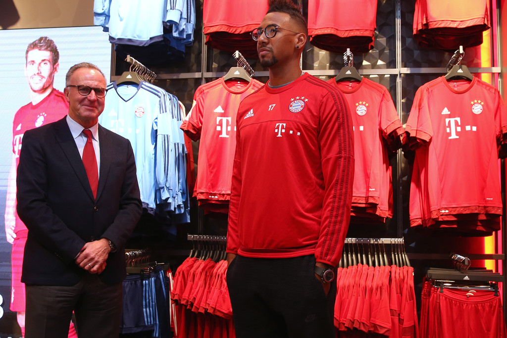 jerome boateng in fc bayern muenchen opens new fan shop zimbio. Black Bedroom Furniture Sets. Home Design Ideas