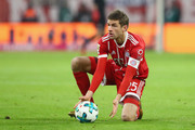 Thomas Mueller of FC Bayern Muenchen looks on during the Bundesliga match between FC Bayern Muenchen and 1. FC Koeln at Allianz Arena on December 13, 2017 in Munich, Germany.