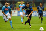 Giampaolo Pazzini of FC Inter Milan and Paolo Cannavaro of SSC Napoli battle during the Serie A match between FC Internazionale Milano and SSC Napoli at Stadio Giuseppe Meazza on October 1, 2011 in Milan, Italy.