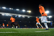 Manchester City players run out for the warm up prior to the Group F match of the UEFA Champions League between FC Shakhtar Donetsk and Manchester City at Metalist Stadium on October 23, 2018 in Kharkov, Ukraine.
