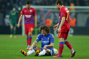 David Luiz of Chelsea is fouled during the UEFA Europa League Round of 16 match between FC Steaua Bucuresti and Chelsea at the National Arena on March 7, 2013 in Bucharest, Romania.