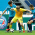 Yuri Zhirkov (L) and Dmitri Poloz (R) of FC Zenit Saint Petersburg vie for the ball with Oleh Danchenko of FC Anji Makhachkala during the Russian Football League match between FC Zenit Saint Petersburg and FC Anji Makhachkala on April 14, 2018 at Saint Petersburg Stadium in Saint Petersburg, Russia.