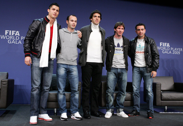 (L-R) Portugal's Cristiano Ronaldo, Spain's Andreas Iniesta, Brazil's Kaka, Argentina's Lionel Messi and Spain's Xavi Hernandez during a Press Conference for the FIFA 2009 World Player Of The Year at the Kongresshaus on December 21, 2009 in Zurich, Switzerland.