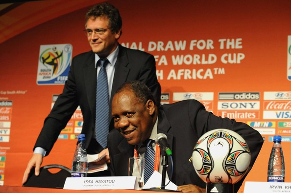 Issa Hayatou (NO SALES) This handout image provided by the 2010 FIFA World Cup Organising Committee South Africa, FIFA SG Jerome Valcke and FIFA LOC Chairman Issa Hayatou attend the 2010 Soccer World Cup Press conference at the CTICC Media Centre on December 2, 2009 in Cape Town, South Africa.