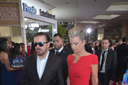 Host Ricky Gervais (L) and Jane Fallon attend the 73rd annual Golden Globe Awards sponsored by FIJI Water at The Beverly Hilton Hotel on January 10, 2016 in Beverly Hills, California.