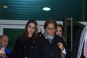 Elena Furiase (L) and Lolita Flores (R) attend the chapel of rest for Amparo Baro at 'Tanatorio Norte' on January 29, 2015 in Madrid, Spain.
