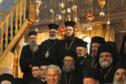 US President George W. Bush stands with Greek Orthodox clergymen during a visit to the Church of the Nativity, traditionally believed to be the birthplace of Jesus Christ, on January 10, 2008 in Bethlehem, West Bank. Bush visited the holy site, accompanied by US Secretary of State Condoleezza Rice, after meeting with Palestinian President Mahmoud Abbas earlier in the day.
