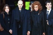 Italian actress Sophia Loren her sons Carlo Jr and Eodardo (L) with his girlfriend leave San Martin church at the end of the funeral of former Italian director Carlo Ponti on January 12, 2007 in Magenta, Italy. Italian film producer and husband of actress Sophia Loren, Carlo Ponti died on January 10 in Geneva, Switzerland at the age of 94.