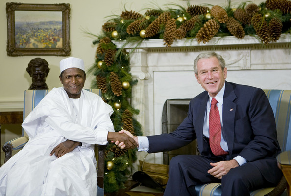 Umaru Musa Yar'adua U.S. President George W. Bush (R) meets with President of the Federal Republic of Nigeria Umaru Musa Yar'Adua December 13, 2007 in Washington, DC. This is the first meeting between the two presidents after the U.S. criticized election of Yar'Adua.