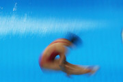 Zi He and Han Wang of China dives in the Women's 3m Synchro Springboard Final during day one of the FINA/NVC Diving World Series 2016 at the Hamdan Sports Complexon March 17, 2016 in Dubai, United Arab Emirates.